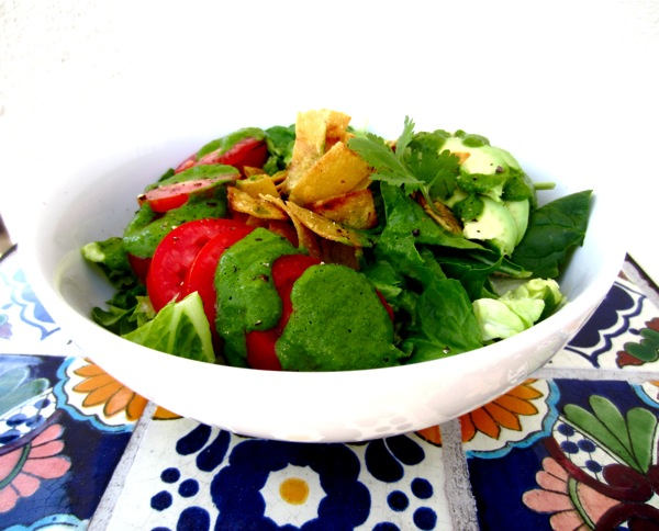 Spicy Cilantro Vinaigrette with Crispy Corn Strips